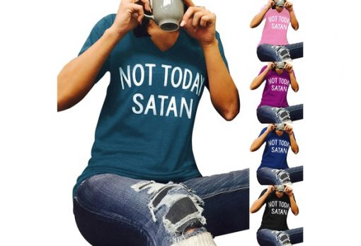 NEW Women Not Today Satan Letters Printing Short Sleeve Slim V Neck Casual LooseT-Shirt Top