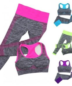 Women Yoga Sport Fitness Stretch Seamless Bra Tank Top+Pants Leggings Set Gym Workout Elastic Breathable Sports Wear