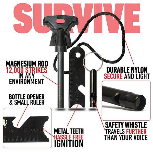 3 X Large Outdoor Survival Flint /& Steel Magnesium Rod Fire Striker Starter NEW
